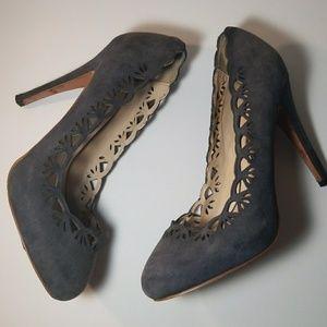 Zara Woman Gray Laser Cut Heels